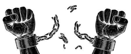 Hands Breaking Chain Shackle Handcuffs Ilustração