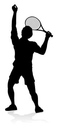 Tennis Player Man Sports Person Silhouette Illustration