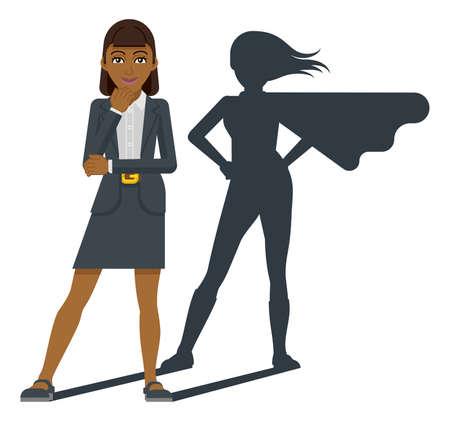 Business Woman Super Hero Shadow Cartoon Mascot