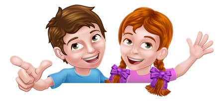Girl and Boy Cartoon Children Kids Sign Illustration