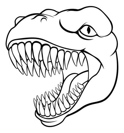 Dinosaur T Rex or Raptor Cartoon Mascot 向量圖像