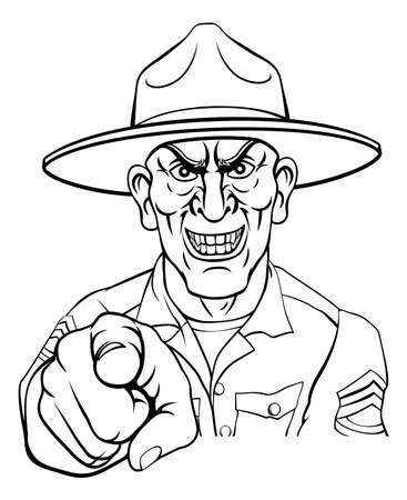 Army Bootcamp Drill Sergeant Soldier Ponting Ilustración de vector