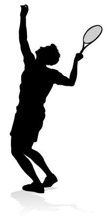 Tennis Player Man Sports Person Silhouette Vector Illustration