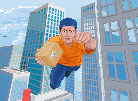 Delivery Courier Superhero Flying Super Hero