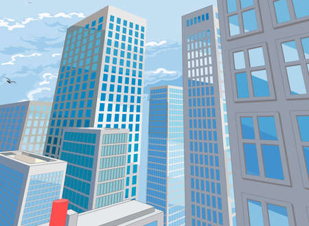 City Buildings Cartoon Comic Book Style Background  イラスト・ベクター素材