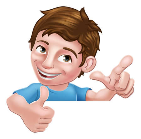 Boy Kid Thumbs Up Cartoon Child Peeking Over Sign