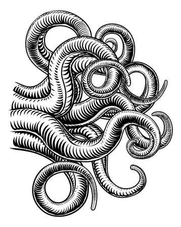 Octopus Cthulhu Squid Monster Tentacles Woodcut Vektoros illusztráció