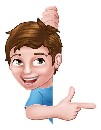 Kid Cartoon Boy Child Pointing Sign