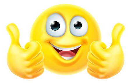 Thumbs Up Emoticon Emoji Face Cartoon Icon Ilustração Vetorial