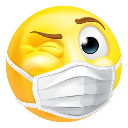 Emoji Emoticon PPE Medical Mask Face Winking
