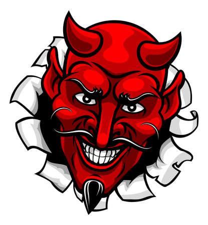 Devil Satan Evil Mascot Cartoon Face