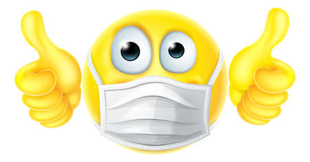 Thumbs Up Emoticon Emoji PPE Mask Face Icon