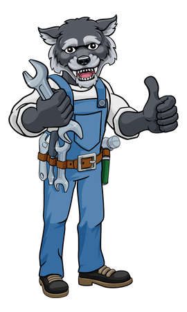 Wolf Plumber Or Mechanic Holding Spanner Ilustração Vetorial