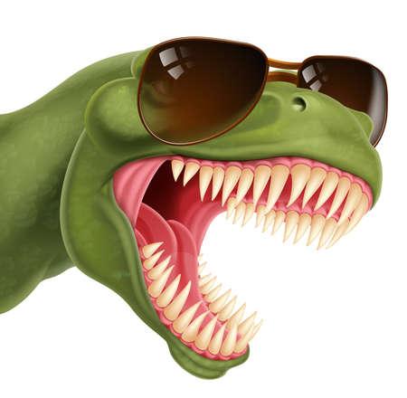 Cool Dinosaur Wearing Shades Sunglasses Vektoros illusztráció