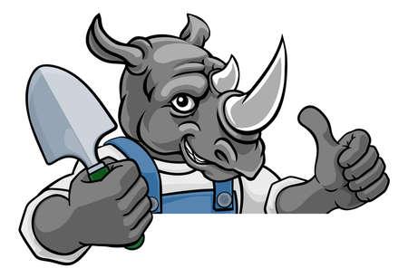 Rhino Gardener Gardening Animal Mascot
