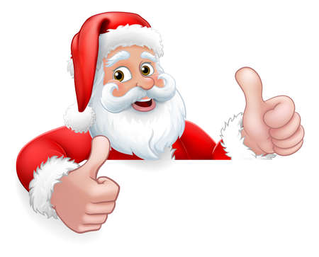 Santa Claus Christmas Peeking Thumbs Up Cartoon Vector Illustration