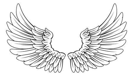 Wings Angel or Eagle Feathers Pair Illustration Ilustração