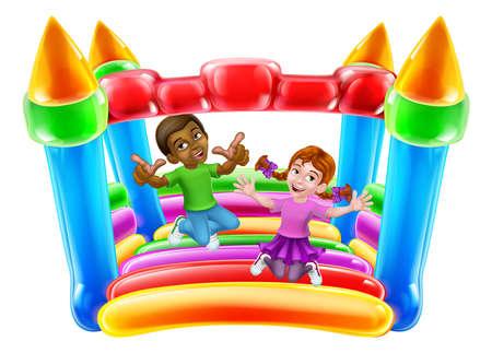 Bouncy House Castle Jumping Girl Boy Kids Cartoon Illustration