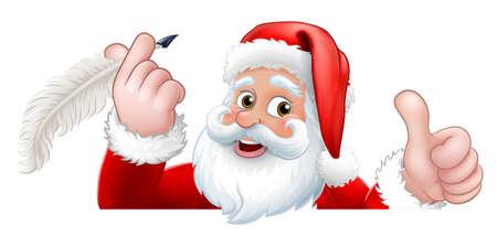 Santa Claus Peeking Quill Pen Cartoon Vecteurs