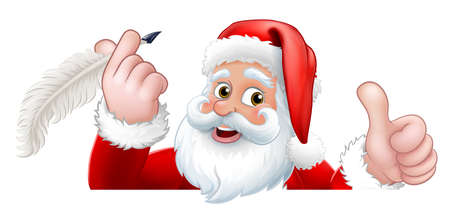 Santa Claus Peeking Quill Pen Cartoon Vektoros illusztráció