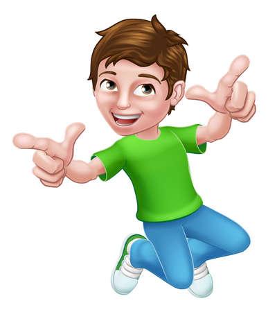 Happy Jumping Boy Kid Child Cartoon Character Vetores