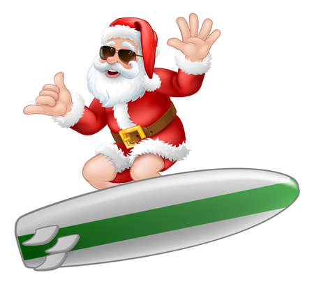 Santa in Sunglasses Surfing Shaka Hand Cartoon 向量圖像