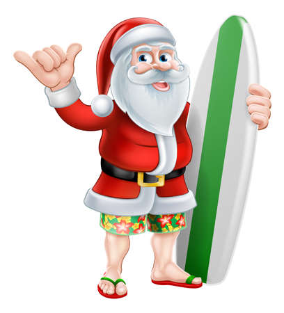 Surfing Santa Shaka Hand Christmas Cartoon