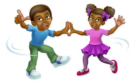 Black Girl And Boy Cartoon Kid Children Dancing