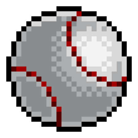 Baseball Ball Pixel Art Eight Bit Sports Game Icon