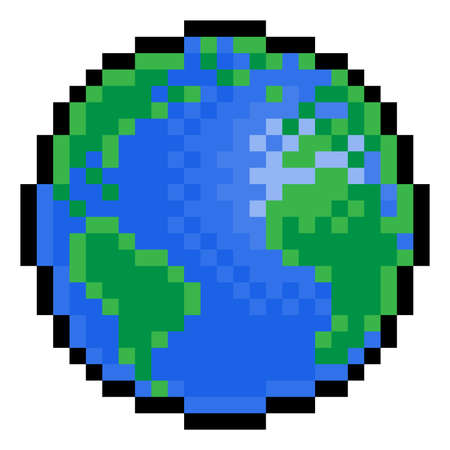 World Earth Globe Eight Bit Pixel Art Game Icon