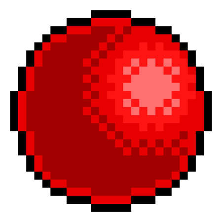 Red Rubber Ball Pixel Art Eight Bit Game Icon Vetores