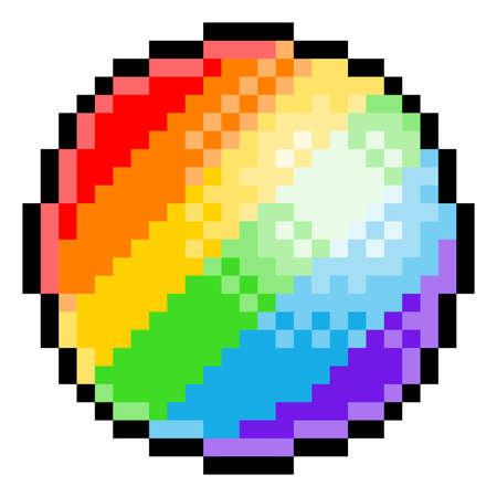 Rainbow Ball Pixel Art Eight Bit Game Icon Vektorové ilustrace