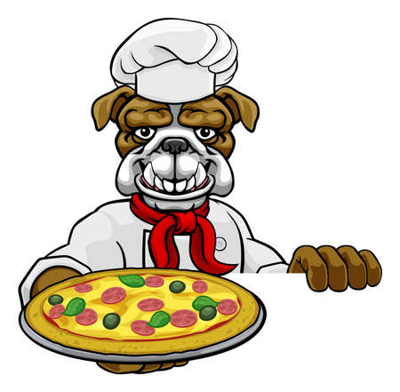 Bulldog Pizza Chef Cartoon Restaurant Mascot Sign Çizim