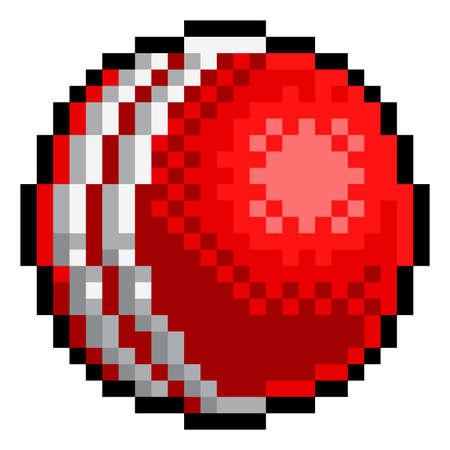 Cricket Ball Pixel Art Eight Bit Sports Game Icon Vetores