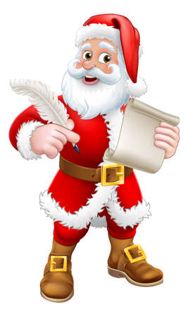 Santa Claus Quill Pen Scroll Letter Cartoon
