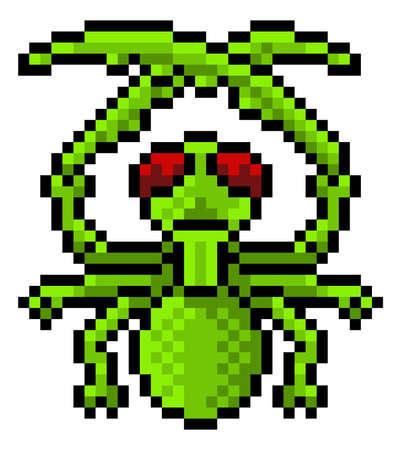 Praying Mantis Bug Insect Pixel Art Game Icon
