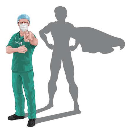 Superhero Nurse Doctor with Super Hero Shadow Vektorgrafik