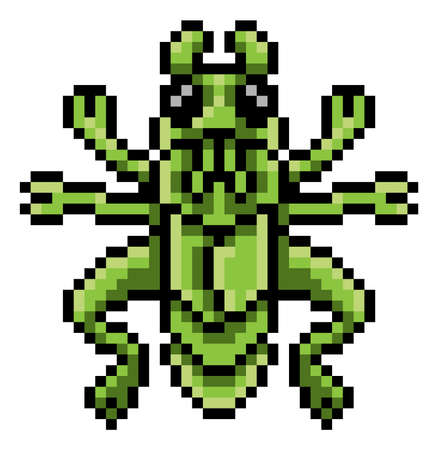 Grasshopper Bug Insect Pixel Art Game Cartoon Icon