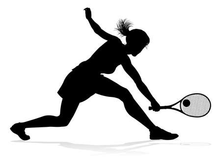 Tennis Player Woman Sports Person Silhouette Иллюстрация