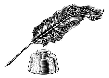 Quill Feather Ink Pen and Inkwell Vintage Woodcut Ilustración de vector
