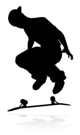 Skateboarder Skater Silhouette Vettoriali