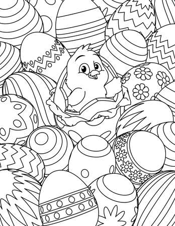 Easter Chick Eggs Coloring Book Page Cartoon