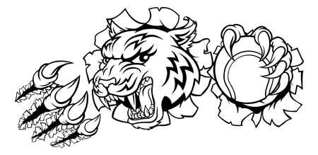 Tiger Tennis Player Animal Sports Mascot Illustration