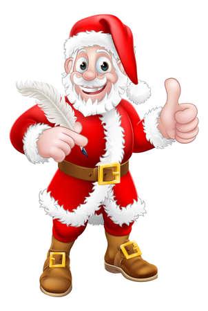 Santa Claus Quill Pen Thumbs Up Cartoon Illustration
