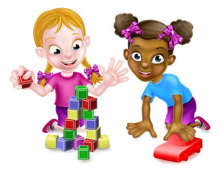 Girls Playing With Building Blocks and Car Ilustração