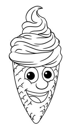 Ice Cream Cone Cartoon Character Mascot