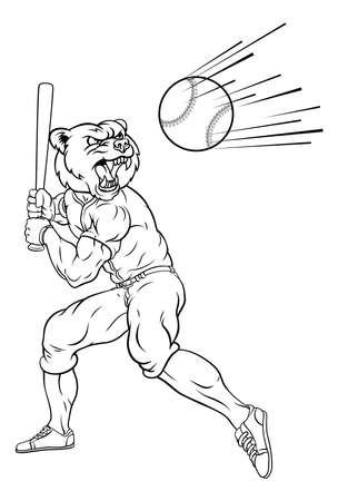 Bear Baseball Player Mascot Swinging Bat at Ball 矢量图像