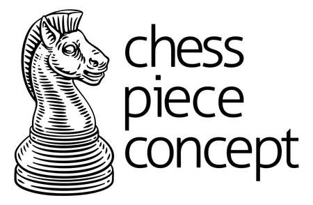 Knight Chess Piece Vintage Woodcut Style Concept Illustration