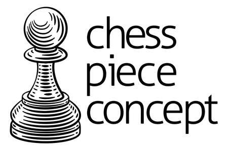 Pawn Chess Piece Vintage Woodcut Style Concept