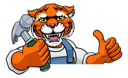 Tiger Carpenter Handyman Builder Holding Hammer Vetores